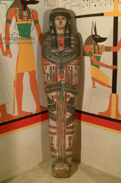 Wrapped female mummy known as Bakt-hor-nekht in painted cartonnage. Separate wooden (sycamore) anthropoid coffin (mixed media)