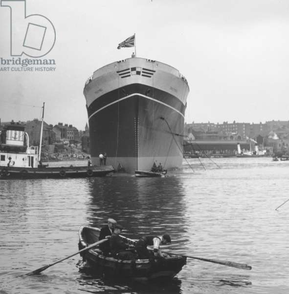Launch of the cargo ship 'Troutpool', Sunderland, Tyne and Wear, UK, 19 August 1955 (b/w photo)