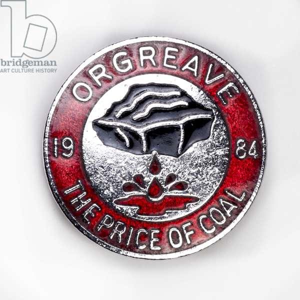 Badge commemorating the Battle of Orgreave, 18th June 1984, c.1984-85 (metal & enamel)