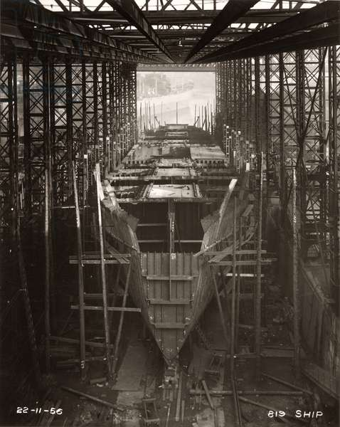 Work starts on the construction of the main deck of 'Northbank' at the shipyard of William Doxford & Sons, Sunderland, 22nd November 1956 (b/w photo)