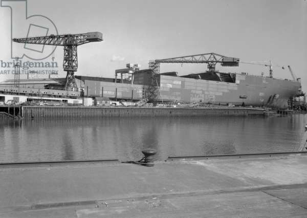 View of 'Naess Crusader' from across the River Wear, Sunderland, UK, 1972 (b/w photo)