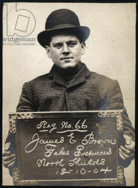 James E. Brown, arrested for obtaining money by false pretences, North Shields, UK, 1904 (b/w photo)