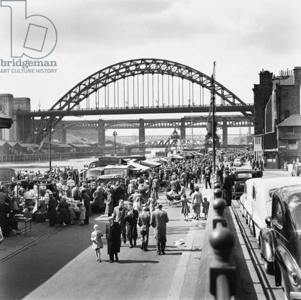 Quayside Market, Newcastle upon Tyne 1958 (b/w photo)