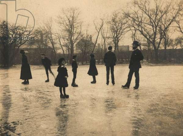 Ice Skating at Christmas (b/w photo)