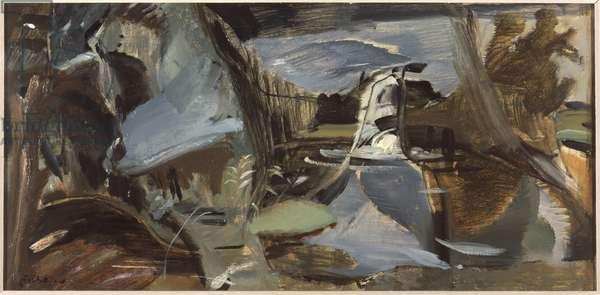 Terwick Mill, No.7, Splashing Fall (oil on canvas)