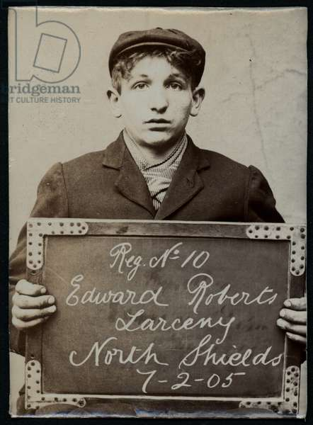 Edward Roberts, arrested for stealing from a gas meter, North Shields, UK, 1905 (b/w photo)