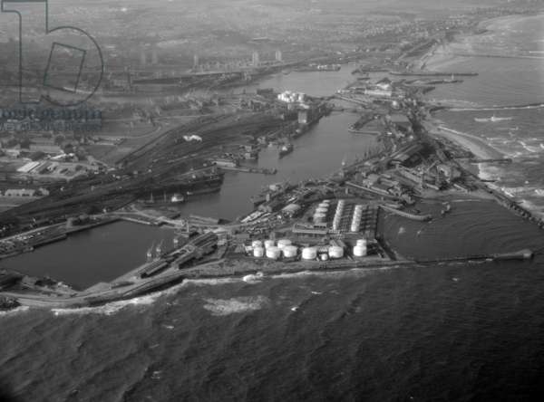 Aerial view of Sunderland Harbour and Docks, UK, 1965 (b/w photo)
