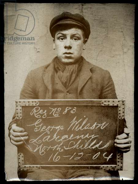 George Wilson, arrested for stealing from his father, North Shields, UK, 1904 (b/w photo)