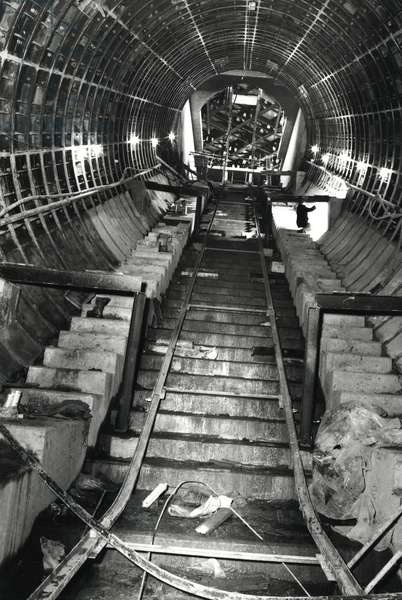The excavation and construction of the escalator shaft at Haymarket Station, Tyne & Wear, UK, 1970s (b/w photo)