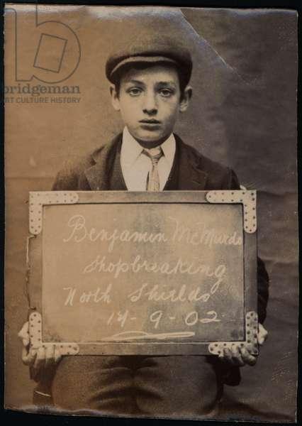 Benjamin McMurdo, arrested for shopbreaking, North Shields, UK, 1902 (b/w photo)