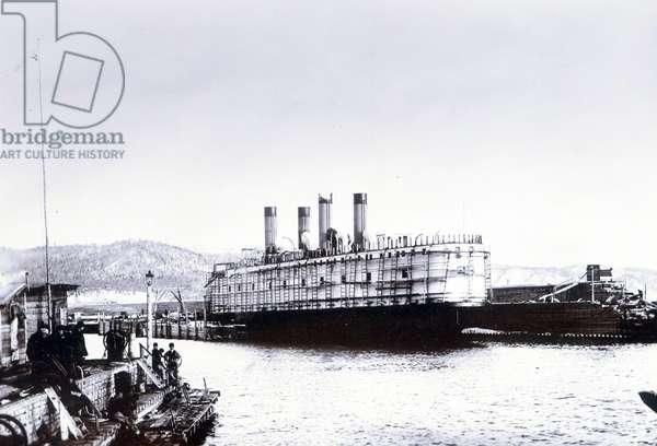 The ice-breaking train ferry steamer 'SS Baikal', Lake Baikal (b/w photo)