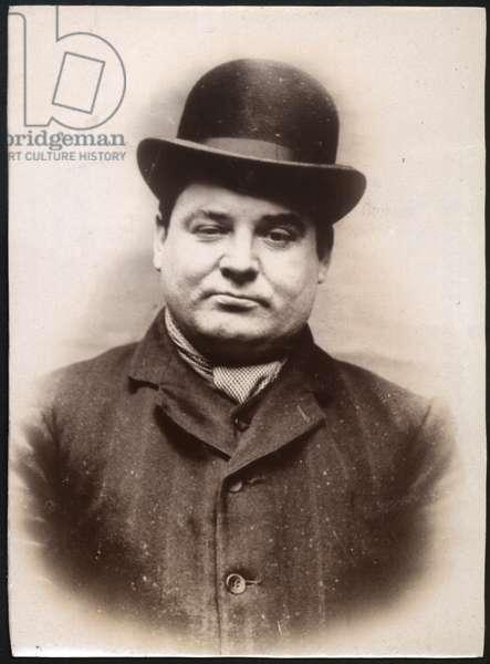 Charles Nixon, bookmaker's clerk, arrested for false pretences, North Shields, UK, 1907 (b/w photo)