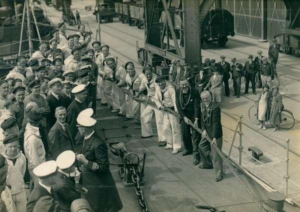 Swedish warship at Newcastle Quay, Newcastle, UK, 1937 (b/w photo)