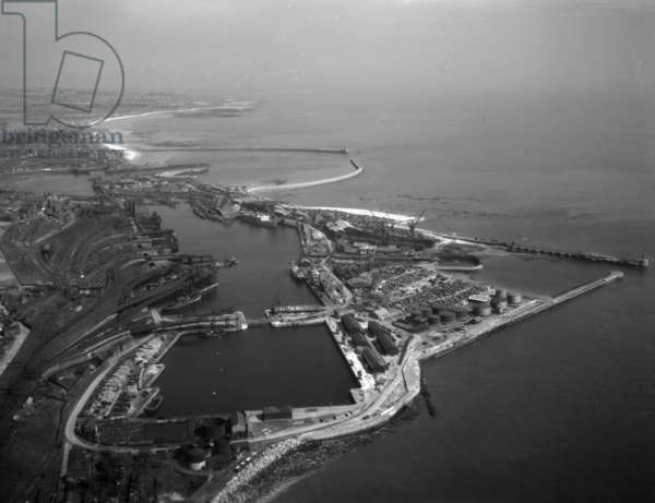 Aerial view of Sunderland Harbour and Docks, UK, 1949 (b/w photo)