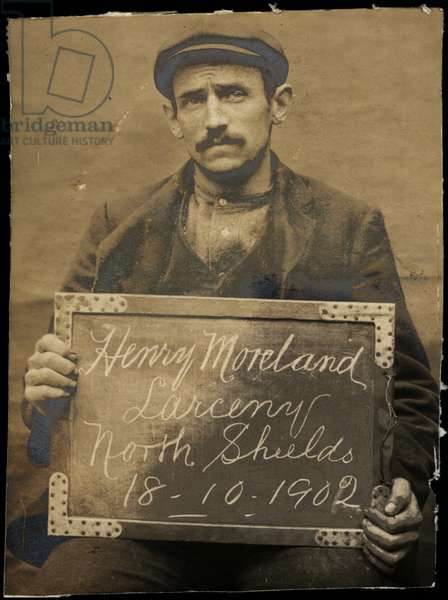 Henry Moreland, arrested for stealing ducks, North Shields, UK, 1902 (b/w photo)