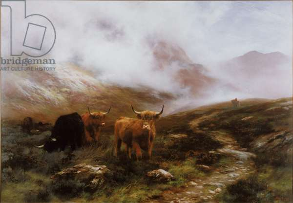 Landscape with Cattle (oil on canvas)
