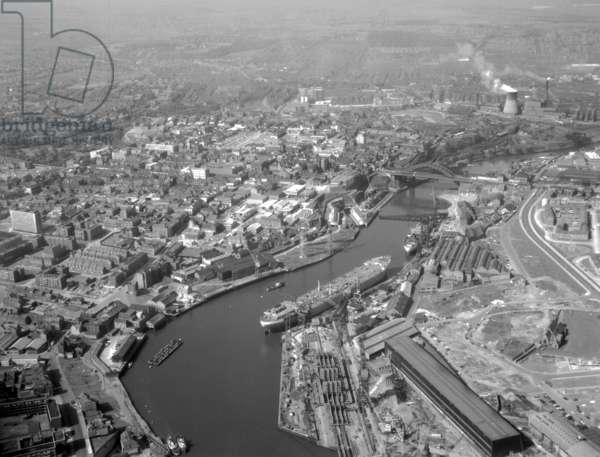 Aerial view along the River Wear, UK, 1965 (b/w photo)