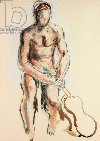 Nude with Violin (pastel and watercolour on paper (on card))