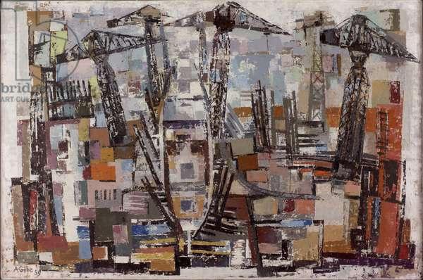 The Riverside, 1959 (oil on board)