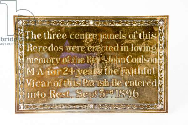 Altar plaque from Holy Trinity Church, South Shields, c.1896 (brass)
