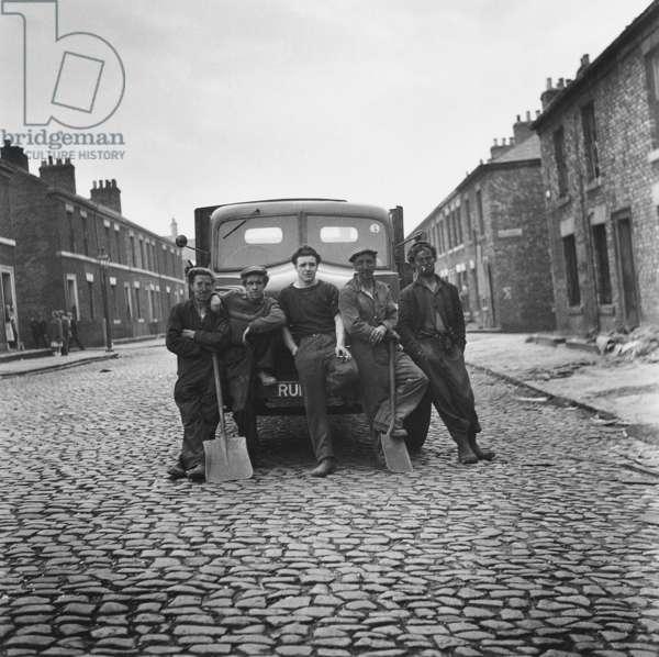 Demolition gang with lorry, Pine Street, Newcastle upon Tyne, 1960 (b/w photo)