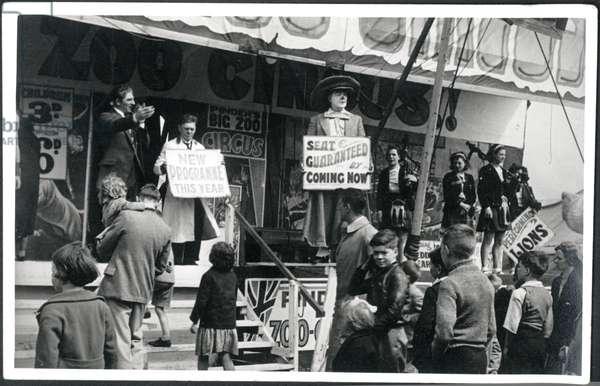 'Pinder's Big Zoo Circus Show' at the Hoppings Fair, UK, c.1940s (b/w photo)