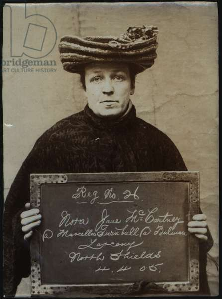 Nora Jane McCartney alias Marcella Turnbull alias Bulman, North Shields, UK, 1905 (b/w photo)