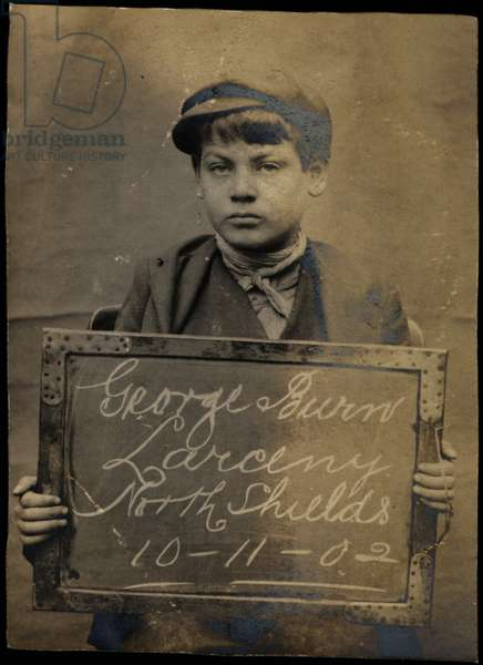 George Burn, arrested for stealing brushes and a box, North Shields, UK, 1902 (b/w photo)