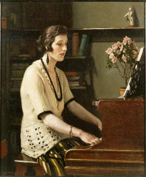 At the Piano, c.1921 (oil on canvas)
