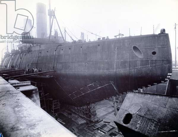 Russian icebreaker Ermack in dry dock following assembly of the sections, Newcastle upon Tyne, 1899 (b/w photo)