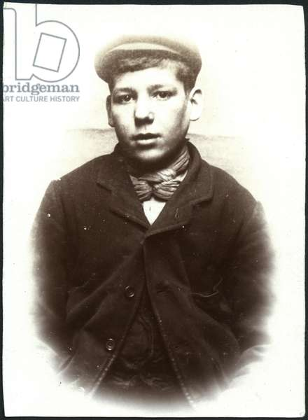 Alexander George, arrested for stealing a purse, North Shields, UK, 1907 (b/w photo)