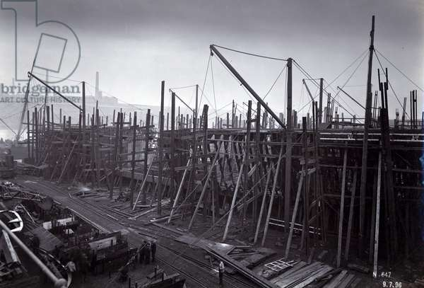 The ice-breaking train ferry steamer 'SS Baikal' in frame during construction by Sir W.G. Armstrong Mitchell and Co. Ltd., at Low Walker shipyard, Newcastle upon Tyne in 1896, Yard No. 647, Lake Baikal (b/w photo)