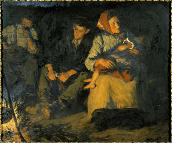 Round the Camp Fire, 1903 (oil on canvas)