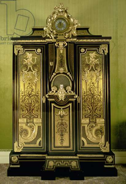 F429 Break-fronted wardrobe, two cupboards flanking a regulator clock, with Boulle marquetry & gilt bronze mounts, clock by Pierre Gaudron (fl.1690-1730)