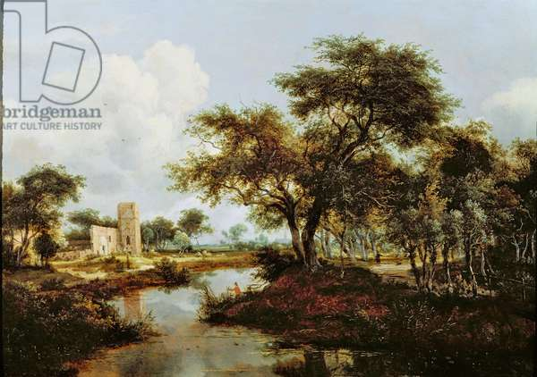 A Ruin on the Bank of a River, 1667 (oil on oak panel)