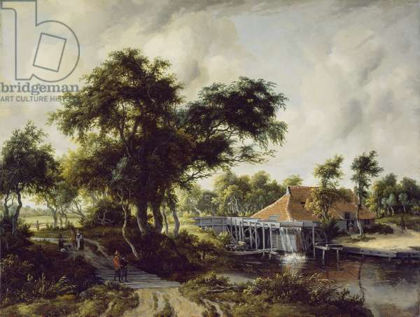 A Watermill, c.1663 (oil on oak panel)