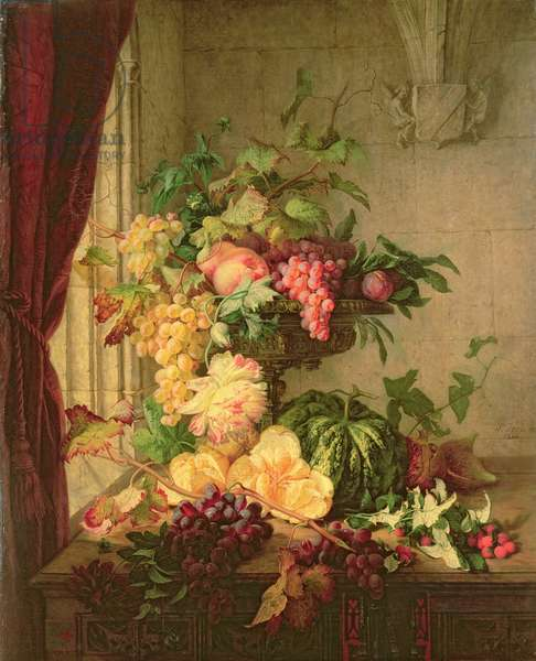 Flowers and Grapes, 1844 (oil on canvas)