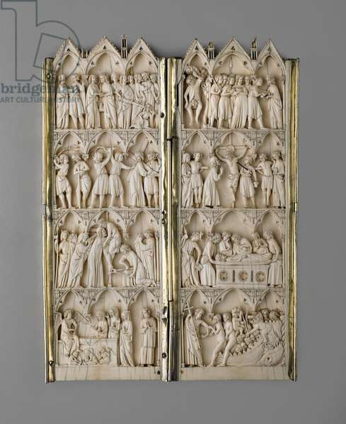 Diptych with scenes of the Passion, France, late 13th century (ivory & silver)