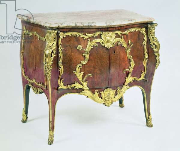 F70 Louis XV commode cabinet, convex side and front, with marble top, rosewood veneer, and gilt bronze mounts, by Nicolas Jean Marchand (c.1697-c.1757)