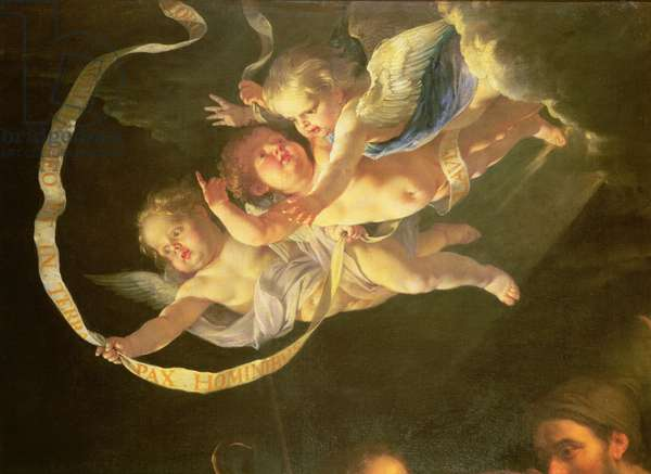 Cherubs, from The Adoration of the Shepherds, c.1648 (oil on canvas) (detail of 61893)