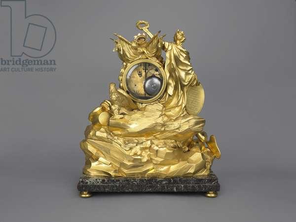 Mantel clock: The Avignon Clock, 1771 (gilt bronze, Levanto rosso marble, modern pink silk, brass, glass and enamel)