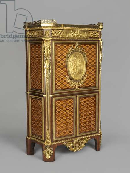 Secretaire with a drop-front and two doors and an oval plaque depicting a sacrifice to love, 1783 (wood and gilt bronze)