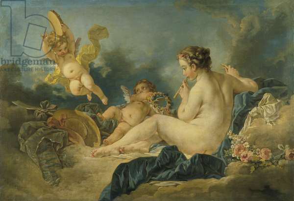 Seated Nymph with Flutes, c.1750s (oil on canvas)