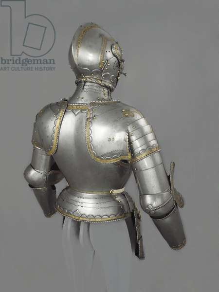 Parts of an armour, Augsburg, c.1525-30 (steel, copper alloy, satin, leather & gold)