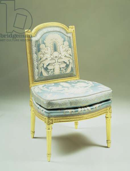 F233 Louis XVI chair, with carved rectangular back frame and arched top rails on tapering fluted legs, re-upholstered in blue and white damask (photo)