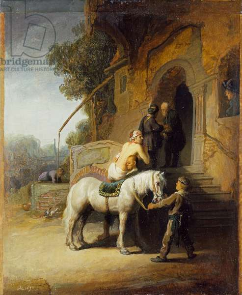 The Good Samaritan (after Rembrandt) (oil on oak panel)