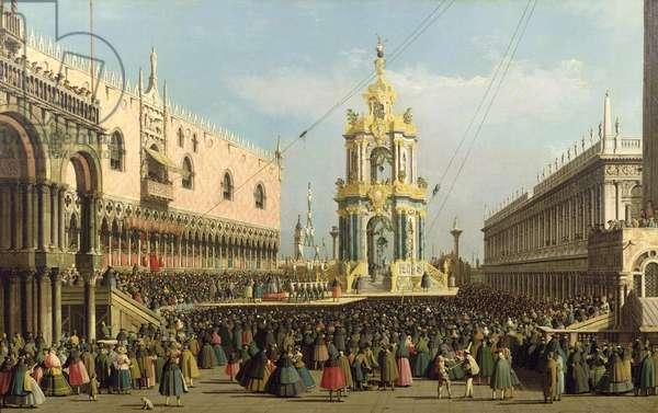 Venice: the Giovedi Grasso Festival in the Piazzetta, c.1741-60 (oil on canvas)
