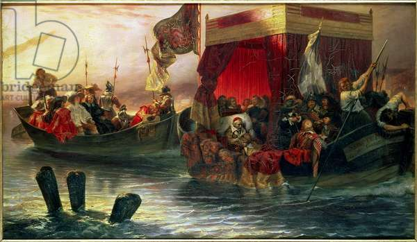The State Barge of Cardinal Richelieu on the Rhone, 1829 (oil on canvas)