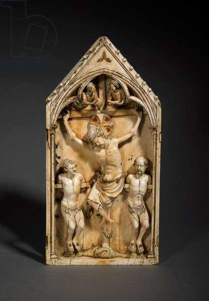 Triptych Panel with Christ Crucified, Paris, France, c.1320 (ivory & paint)
