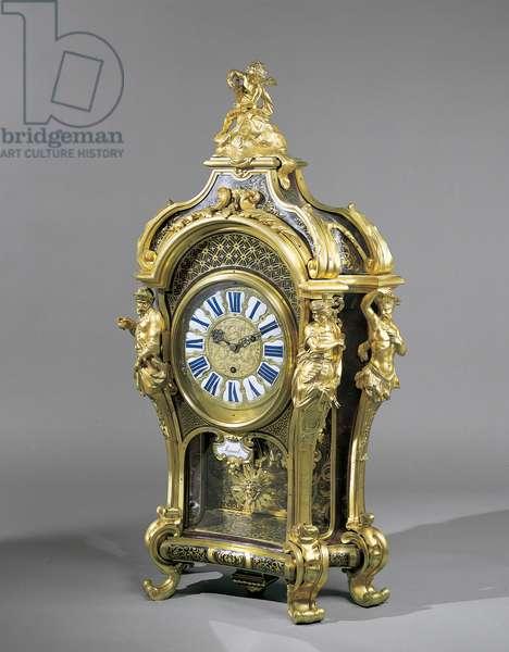 Pedestal clock, c.1720-25 (oak, tortoiseshell, première-partie Boulle marquetry of brass & turtleshell, gilt bronze, glass, enamel, brass &ebony)